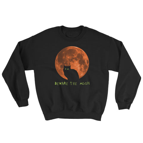 Beware the Moon - Halloween Costumes Sweatshirt - Funny Scary Cats