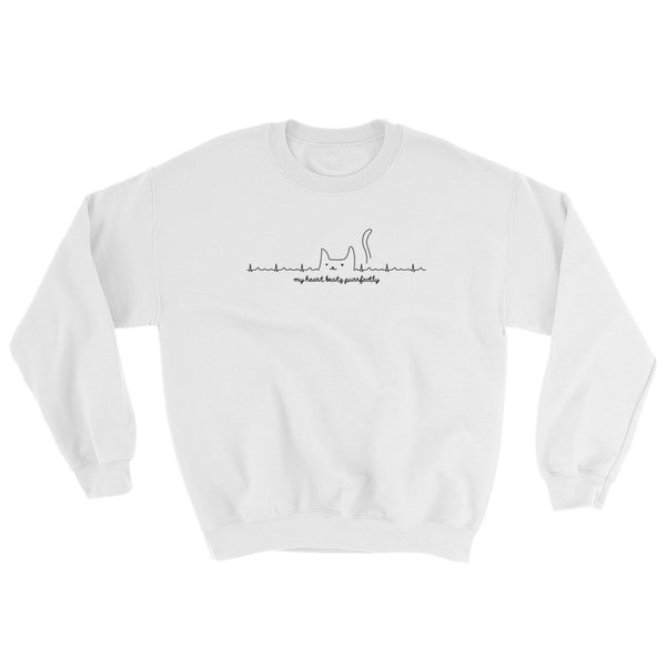My Heart Beats Purrfectly -  Cat Sweatshirt  – Cats Heartbeat (light colors)