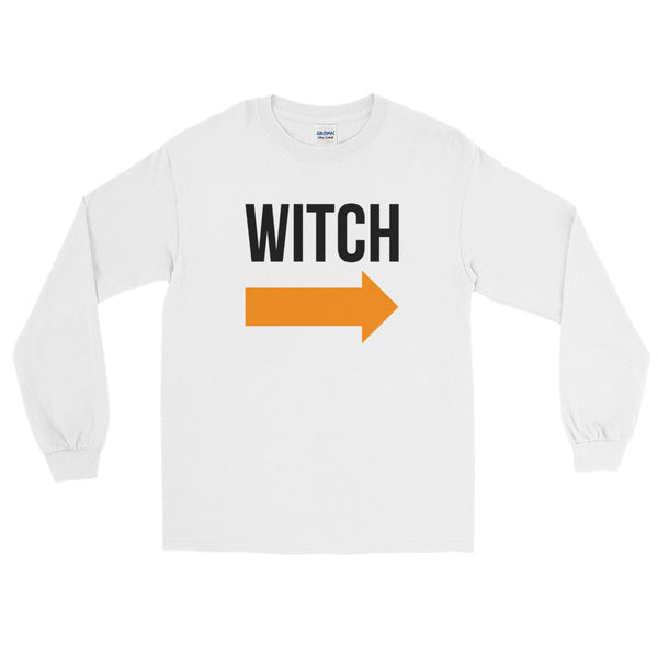 I'm With the Witch - Halloween Costumes Long Sleeve T-Shirt - Funny Tee (light colors)