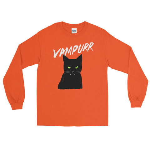 Vampire Cat - Halloween Costumes Long Sleeve T-Shirt - Funny Scary Cats Tee