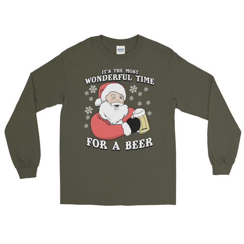 It's the Most Wonderful Time for a Beer - Long Sleeve T Shirt - Funny Santa Christmas Tee