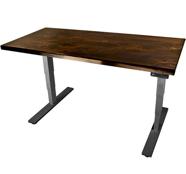UPLIFT 900 Height Adjustable Standing Desk in Solid Wood - Knotty Alder - Stand Up Desk Direct  - 1