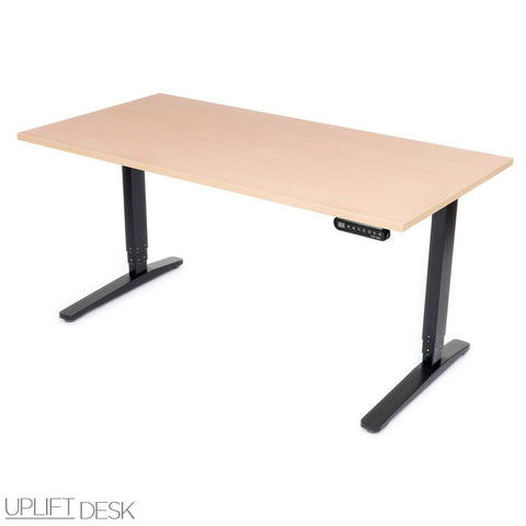 UPLIFT 900 Height Adjustable Standing Desk in Maple Greenguard - Stand Up Desk Direct  - 1
