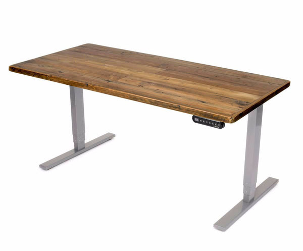 UPLIFT 900 Sit Stand Desk with Reclaimed Wood Top - Stand Up Desk Direct  - 1