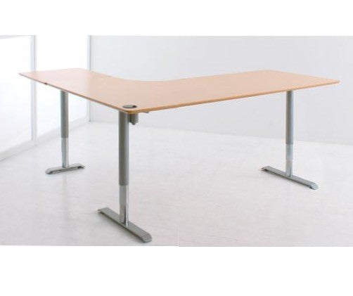 Conset 501-49 8S176-196A | 501-49 8B176-196A | 501-49 8W176-196A Three Leg Height Adjustable Shaped Standing Desk - Stand Up Desk Direct  - 1