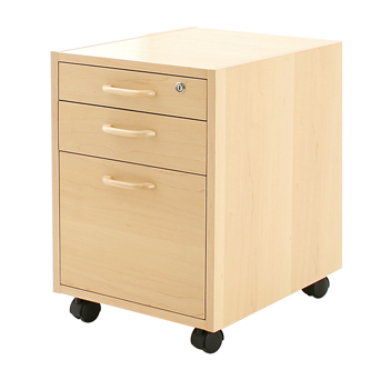 Conset PED 3A400 Mobile pedestal, 3 Drawers, Maple or Beech Veneer - Stand Up Desk Direct