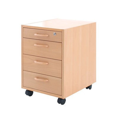 Conset PED 4A400 Mobile pedestal, 4 Drawers, Maple or Beech Veneer - Stand Up Desk Direct