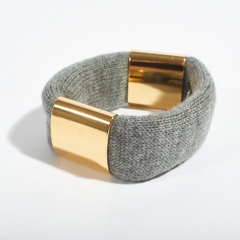 Cashmere and Gold Bracelet - Grey
