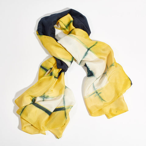 "Silk scarf ""Frame"" - Yellow & Navy"