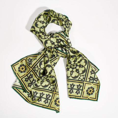 "Silk Scarf - ""Art Deco"" Sage Green"