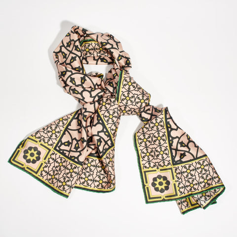 "Silk Scarf - ""Art Deco"" Dusty Pink"