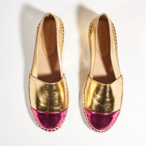Espadrilles - Patent Leather Gold and Fuschia