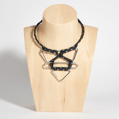 Torque Necklace with Textile Weave