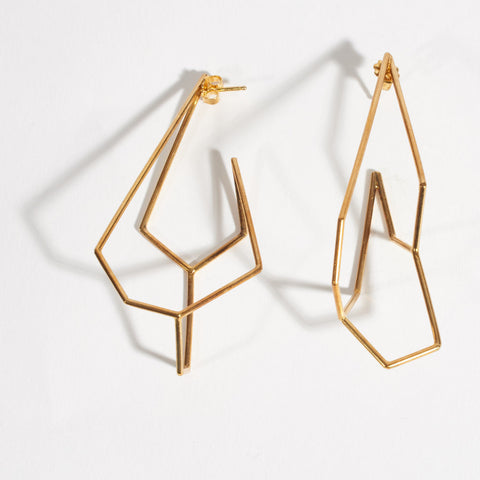 Acicular Dangling Vermeille Earrings