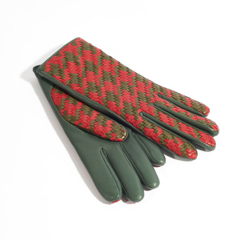 Chloe Leather Gloves - Red & Khaki
