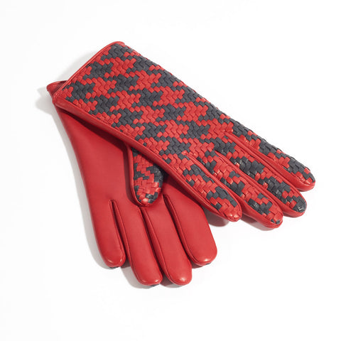 Chloe Leather Gloves - Red & Navy