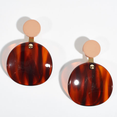 Disc Earrings - Tortoise Shell