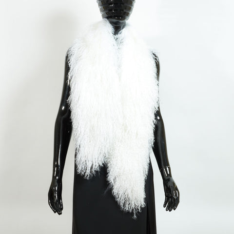 Mongolian Lamb Fur Stole - Off White