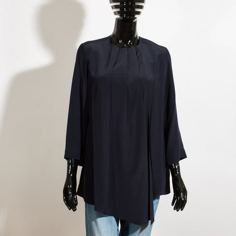 Draped Satin Blouse - Navy
