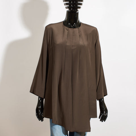 Draped Satin Blouse - Pewter