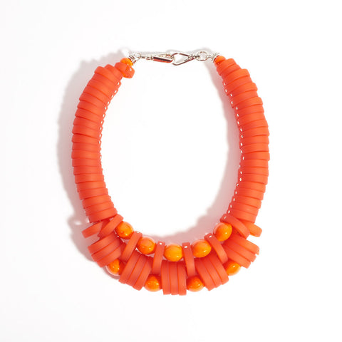 Murano Glass and Polymer Necklace - Burnt Orange