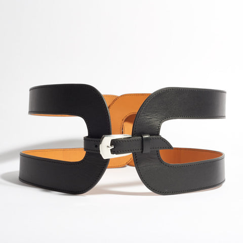 Wide Leather Belt with Cut Out
