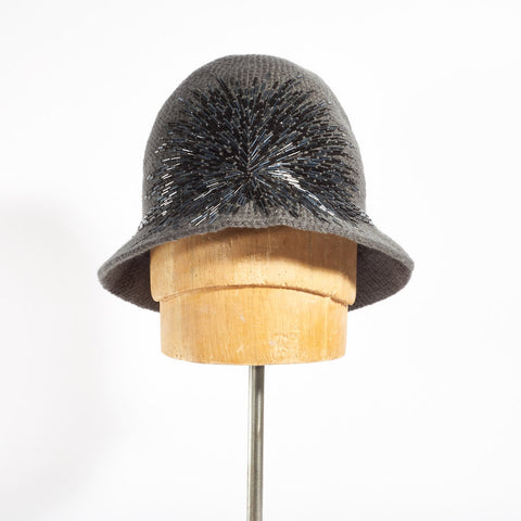 Cloche Hat with Crystals Embroidery - Grey