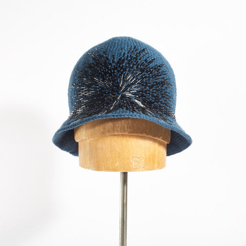 Cloche Hat with Crystals Embroidery - Petrol Blue