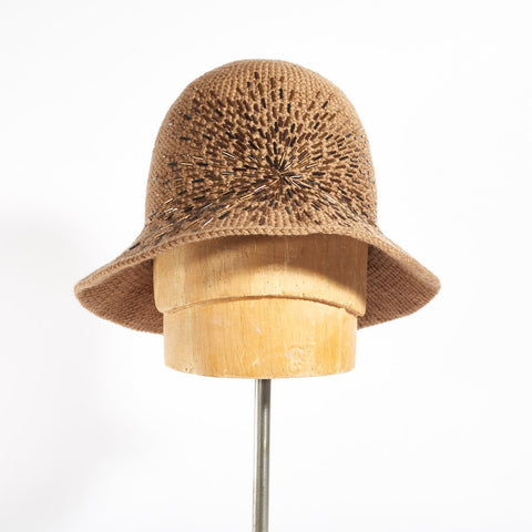 Cloche Hat with Crystals Embroidery - Tan