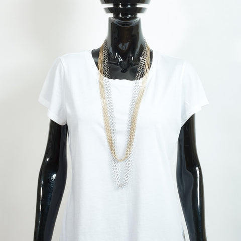 Long Double Chain Necklace - Gold