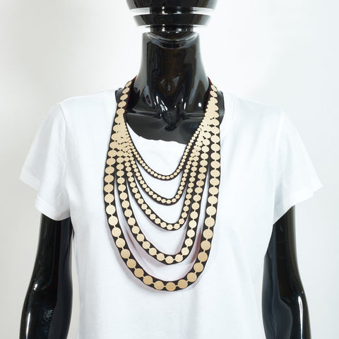 Matte Gold Large Pearls Necklace
