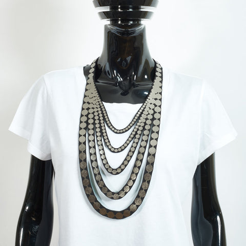 Matte Silver Large Pearls Necklace