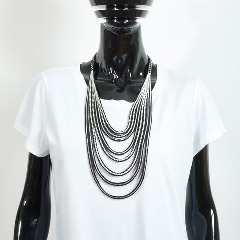 Metallic Silver Mini Pearls Necklace