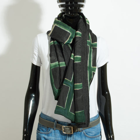 Silk and Merino Wool  Scarf - Emerald Squares
