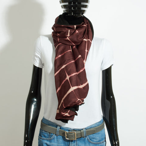Silk and Cashmere Scarf - Burgundy