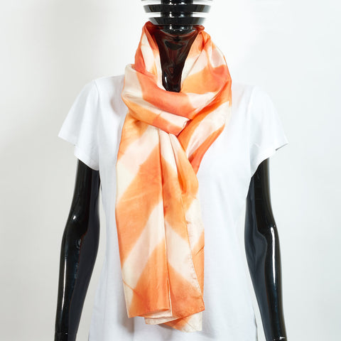 Silk Scarf - Quadrillage Mandarine