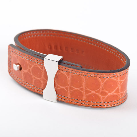 Crocodile Leather Bracelet - Mango