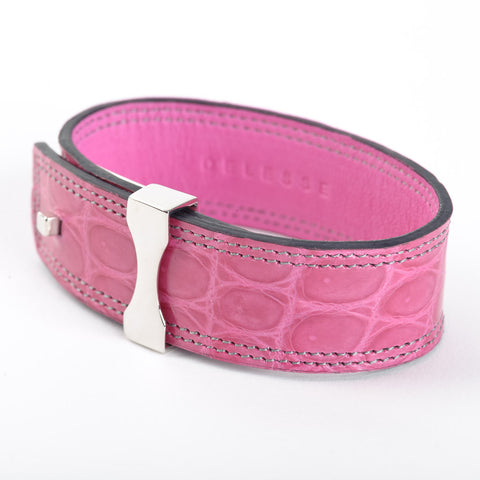 Crocodile Leather Bracelet - Fuschia