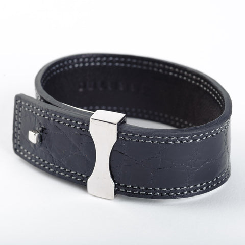 Crocodile Leather Bracelet - Black