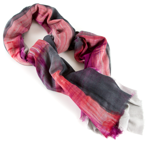 Wool and Silk Scarf Bolgheri - Grey/Bordeaux