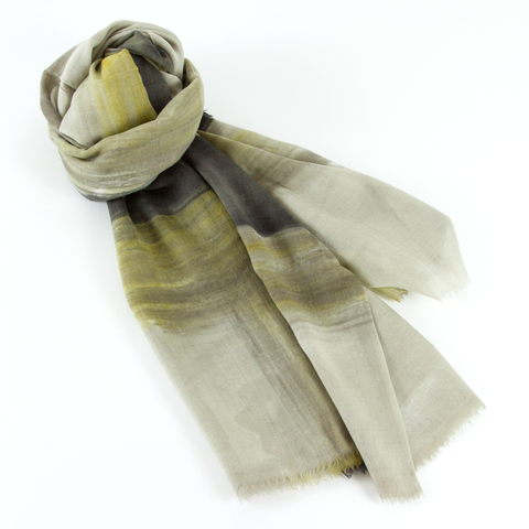 Wool and Silk Scarf Bolgheri - Taupe/Chartreuse