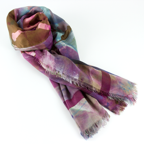Silk and Cashmere Vintage Scarf - Brown & Purple