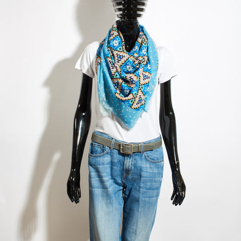 Wool Scarf - Aztec Blue