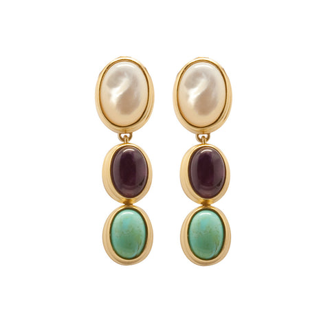 Gold Plated & Semi Precious Stones Earrings  - Mother of Pearl