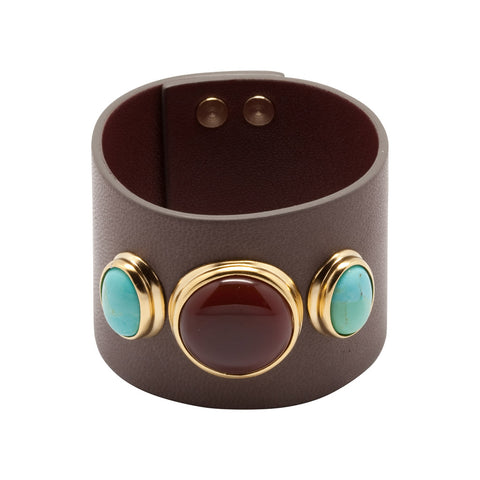 Large Leather Cuff - Taupe