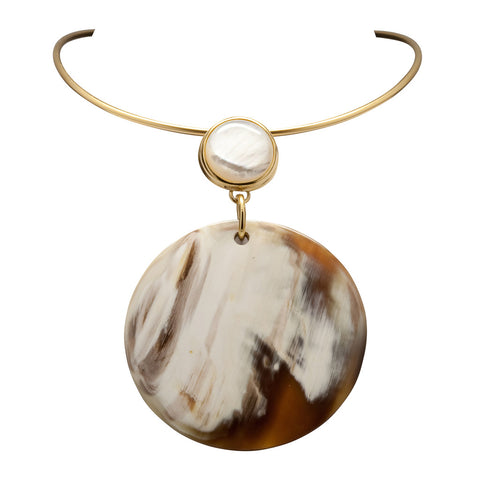 Torque Necklace - White Mother of Pearl