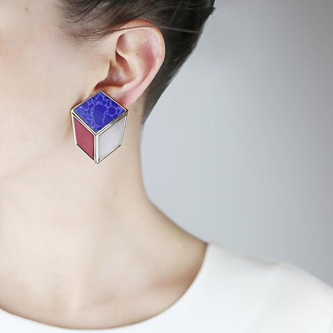 Cube-like Clip On Earrings
