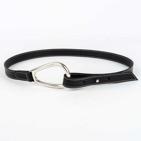 Thin Horse Shoe Buckle Leather Belt - Black