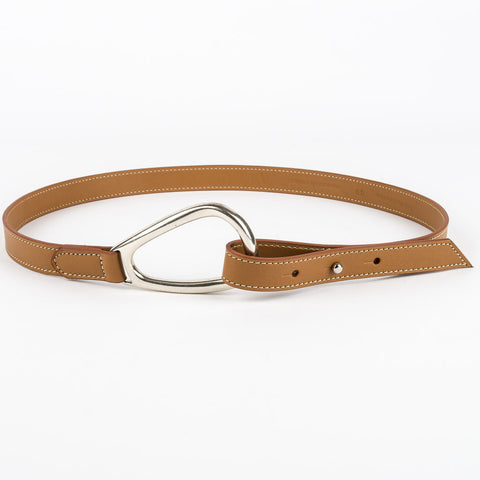 Thin Horse Shoe Buckle Leather Belt - Tan