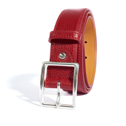 Pebbled Leather Belt - Red